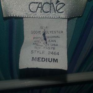 Cache Tops - Cach'e blue striped flare sleeve blouse medium